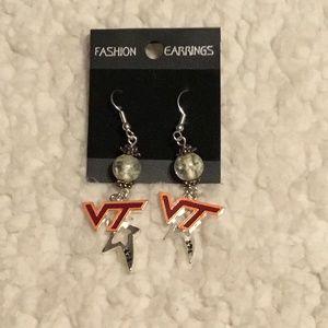 A colorful pair of Virginia Tech earrings